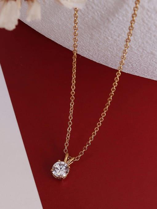 MAKA Titanium Steel Cubic Zirconia Geometric Minimalist Necklace 2