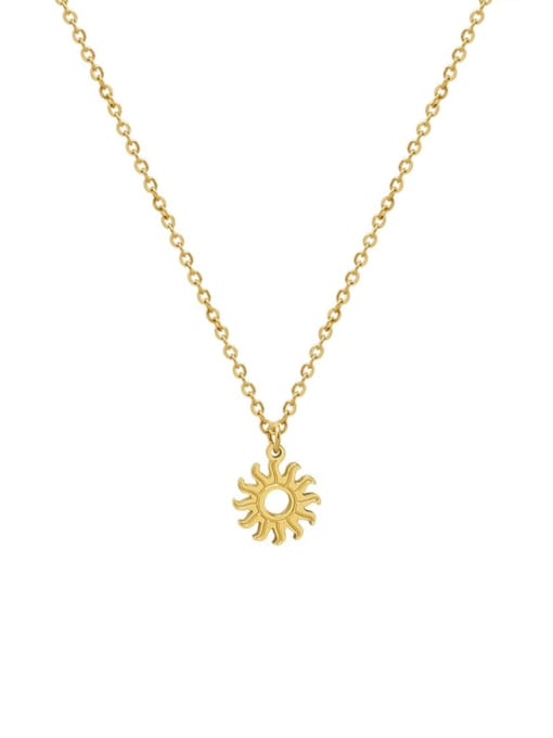 Gold necklace 40+5cm Titanium Steel Minimalist Irregular Sun Pendant Necklace