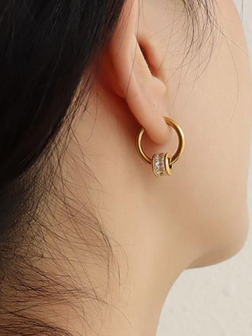 MAKA Titanium Steel Cubic Zirconia Minimalist Round  Earring and Necklace Set 2