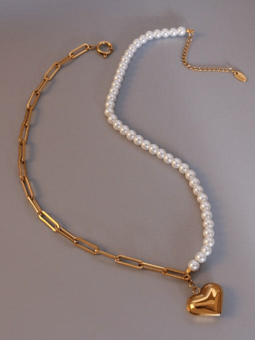 gold Titanium Steel Imitation Pearl Heart Vintage Necklace