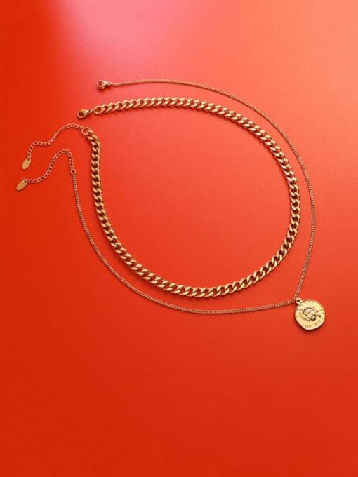 Gold Double necklaces Titanium Steel Geometric Vintage Multi Strand Necklace