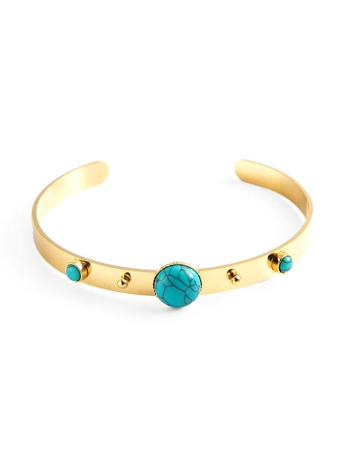 YAYACH Stainless steel Turquoise Green Geometric Vintage Cuff Bangle 1