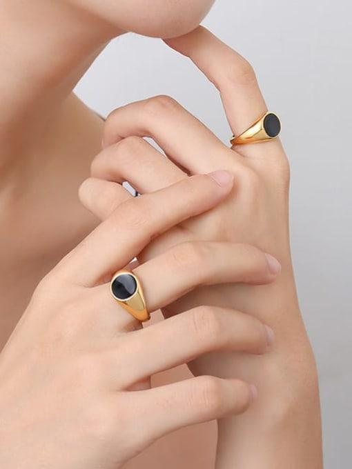 MAKA Titanium Steel Enamel Geometric Vintage Band Ring 2