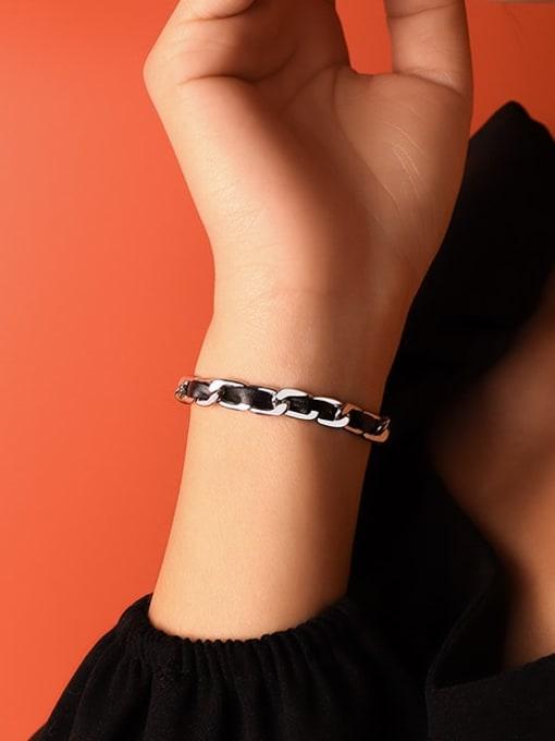 Steel color Bracelet 14+5cm Titanium Steel Leather Geometric Vintage Link Bracelet