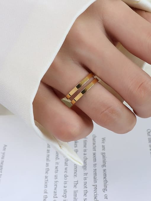 A005  two layers of gold Titanium 316L Stainless Steel Geometric Vintage Band Ring with e-coated waterproof