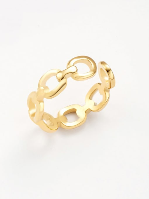 Gold Thin chain all-match hollow opening adjustable titanium steel ring