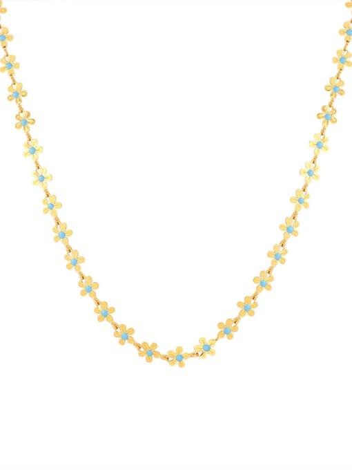 Double sided oil dripping Necklace p075 Titanium Steel Enamel Minimalist Flower  Bracelet and Necklace Set