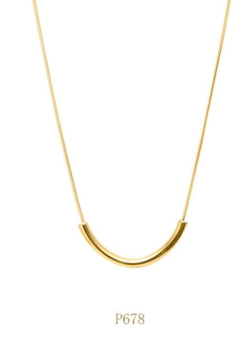 Gold necklace a p678 Titanium Steel Geometric Minimalist Necklace