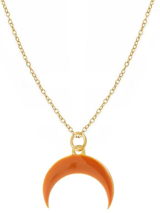 orange Fashion Candy Color Water Drop Crescent Pendant Titanium Steel Necklace
