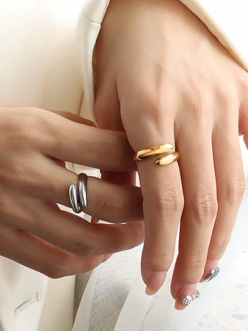 MAKA Titanium Steel Smooth Geometric Minimalist Stackable Ring 1
