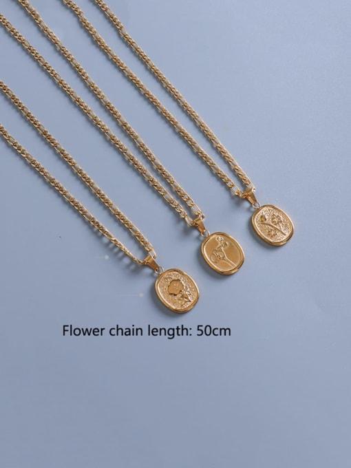 MAKA Titanium Steel  Flower Vintage Geometric Pendnat Necklace 2