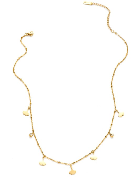 YAYACH Creative Ginkgo Leaf Shaped Titanium Steel Pendant Necklace 0