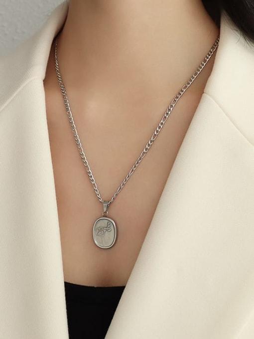 steel Plum Blossom Necklace 50cm Titanium Steel  Flower Vintage Geometric Pendnat Necklace