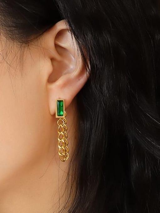 MAKA Titanium Steel Cubic Zirconia Geometric Chain Ethnic Drop Earring 1