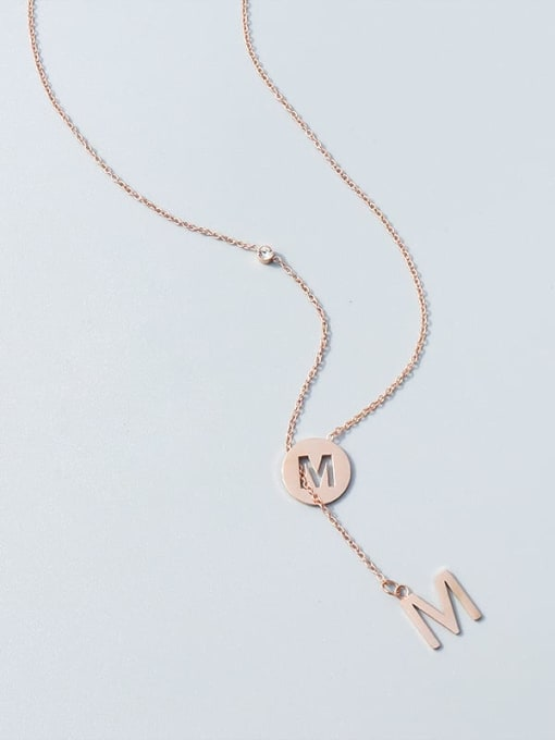 M letter rose gold necklace Titanium Steel Tassel Minimalist Lariat Necklace