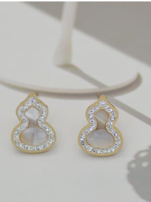 White Freshwater shell auspicious ferro Malachite titanium steel gourd Earrings