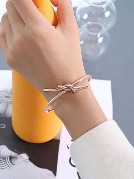 Z175 Rose Bracelet Titanium Steel Irregular Minimalist Cuff Bangle