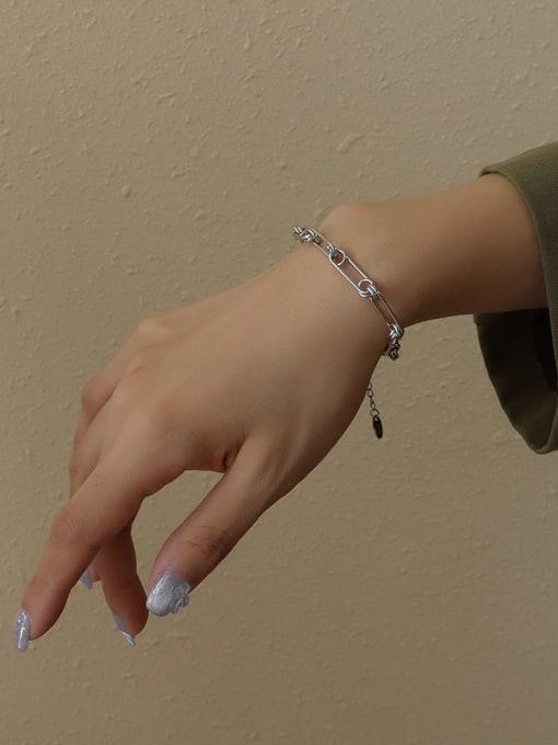 pin splicing steel color Bracelet 15 cm Titanium Steel Vintage Geometric  Earring Braclete and Necklace Set