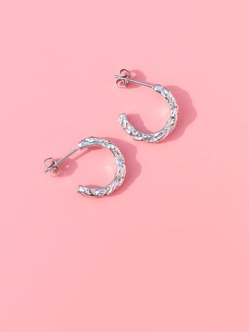 MAKA Titanium Steel C shape Minimalist Stud Earring 0