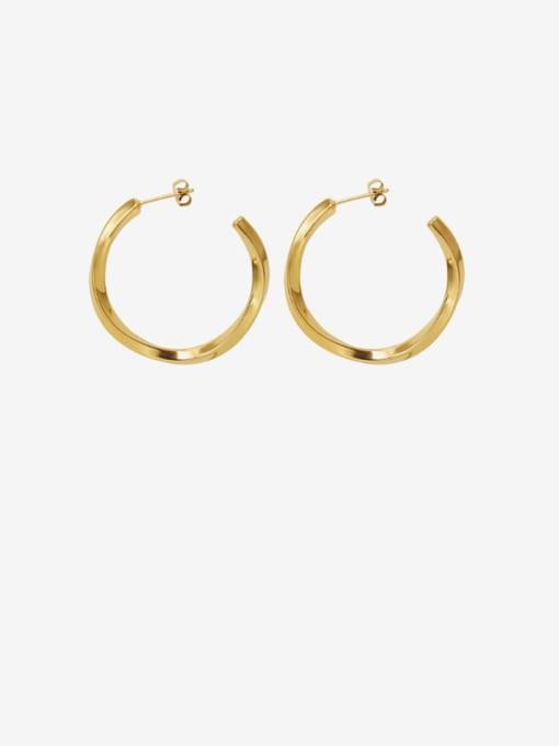 gold Titanium Steel Geometric Minimalist Hoop Earring