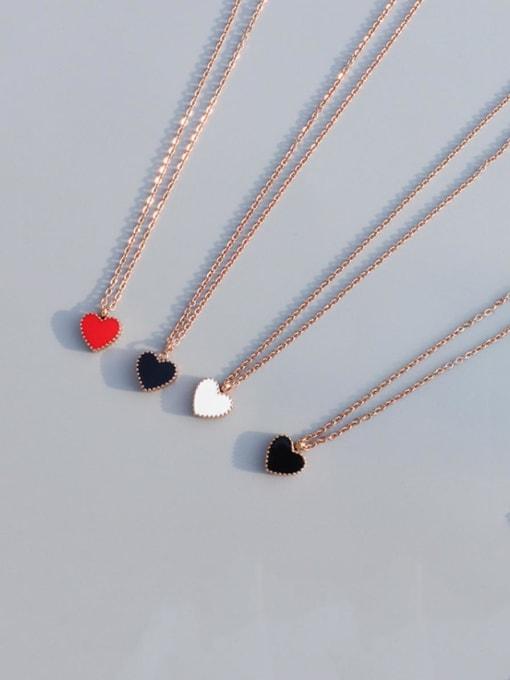 MAKA Titanium Steel Enamel Heart Minimalist Necklace 2