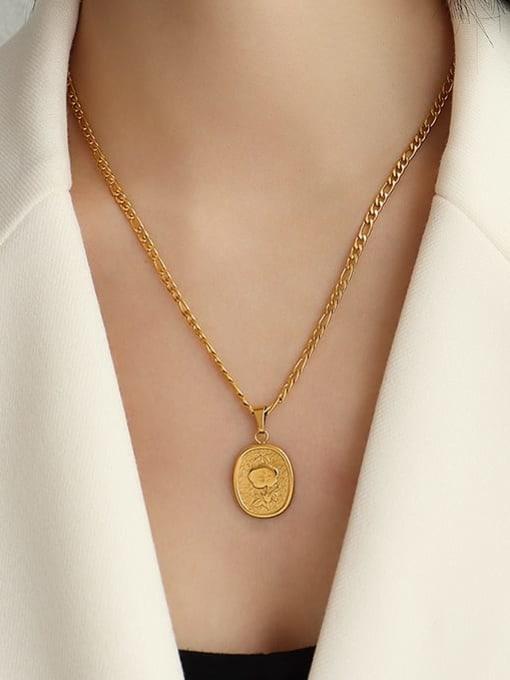 gold one flower necklace 50cm Titanium Steel  Flower Vintage Geometric Pendnat Necklace