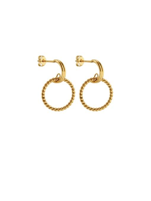 gold Titanium Steel Geometric Minimalist Drop Earring