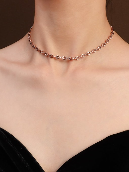 rose gold necklace 35+5cm Titanium Steel  Minimalist Irregular Braclete and Necklace Set