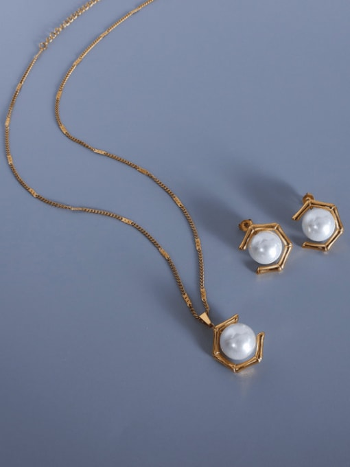 MAKA Stainless steel Imitation Pearl  Vintage Geometric Earring and Necklace Set 0