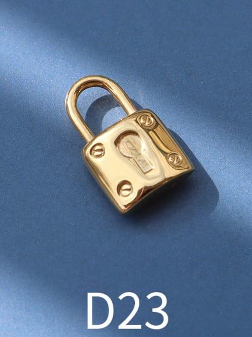D23 golden key lock Titanium Steel Cute  Lock Heart Pendant