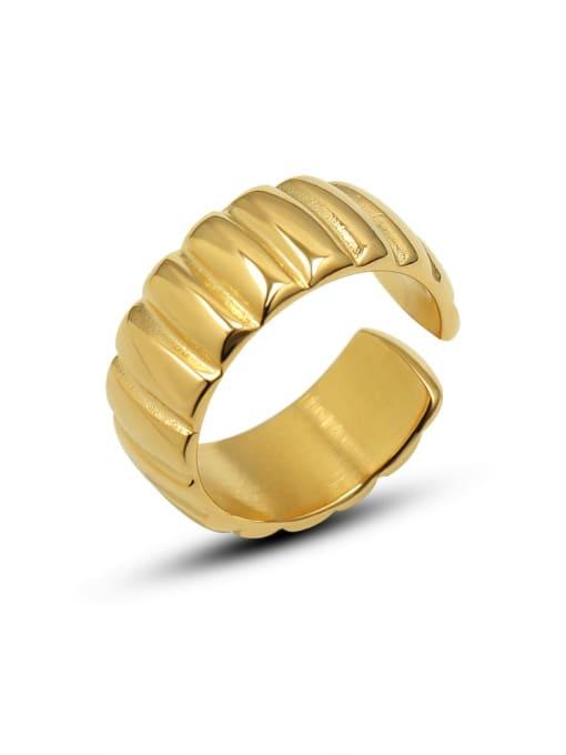 MAKA Titanium Steel Geometric Vintage Band Ring 2