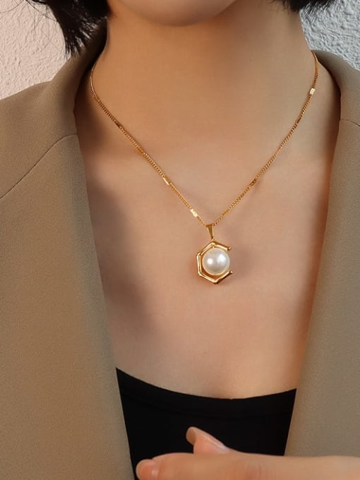 gold necklace 40+5cm Stainless steel Imitation Pearl  Vintage Geometric Earring and Necklace Set