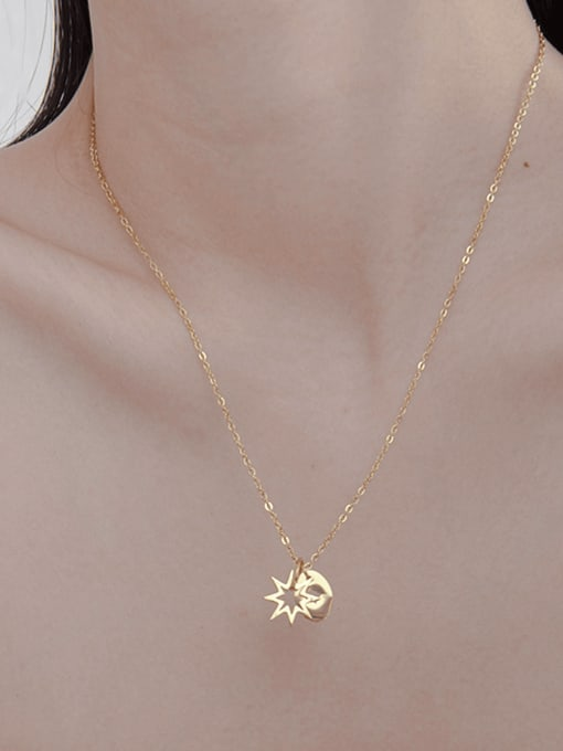 YAYACH Simple hollow star disc stainless steel necklace 2