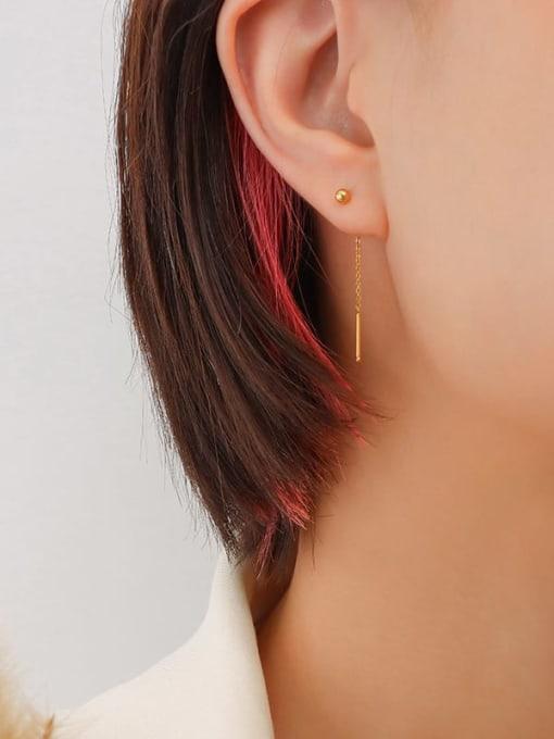 4cm ear line pair Titanium Steel Tassel Minimalist Threader Earring