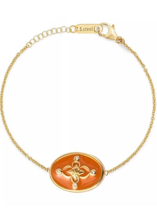 orange Oil dripping oval exquisite titanium steel bracelet
