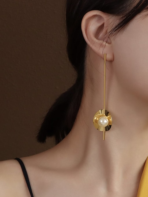 F220 gold metal imitation pearl earrings Titanium 316L Stainless Steel Imitation Pearl Geometric Vintage Drop Earring with e-coated waterproof