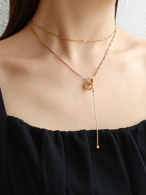 MAKA Titanium Steel Tassel Minimalist Multi Strand Necklace 1