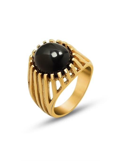 Gold Titanium Steel Cats Eye Geometric Vintage Band Ring