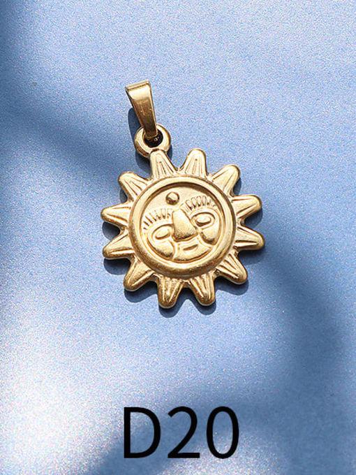 D20 golden sun Titanium Steel  Moon Star Vintage Pendant