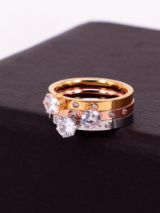 K.Love Titanium Steel Rhinestone Round Minimalist Band Ring 3