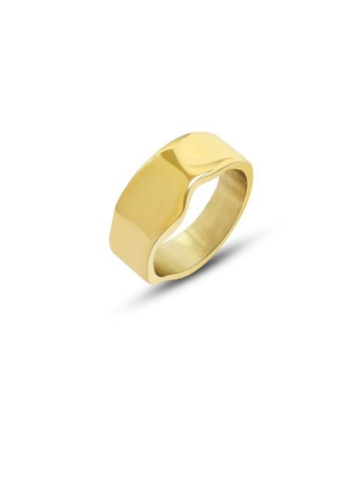 MAKA Titanium Steel Geometric Minimalist Band Ring 0
