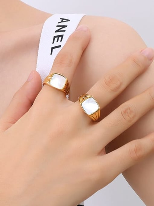 A257 gold ring Titanium Steel Shell Geometric Vintage Band Ring