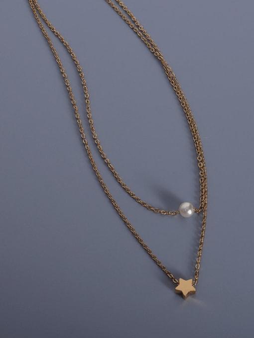Gold Titanium Steel Star Minimalist Multi Strand Necklace