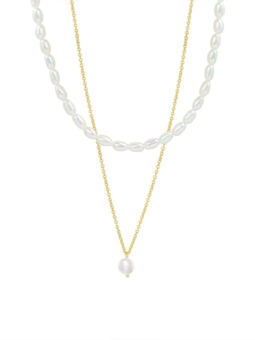 P079 pearl folding Necklace (36/40) 5cm Titanium Steel Freshwater Pearl Geometric Minimalist Multi Strand Necklace