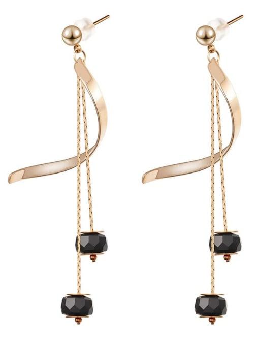 Rose Long crystal thin temperament Tassel Earrings