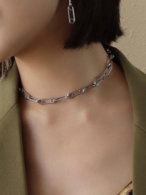 pin splicing Steel Necklace 34+ 5cm Titanium Steel Vintage Geometric  Earring Braclete and Necklace Set