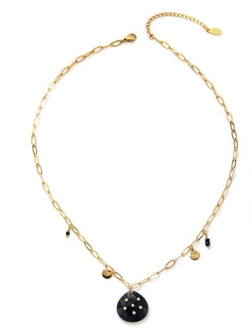 Black Fashionable Simple Natural Stone Inlaid Titanium Steel Necklace