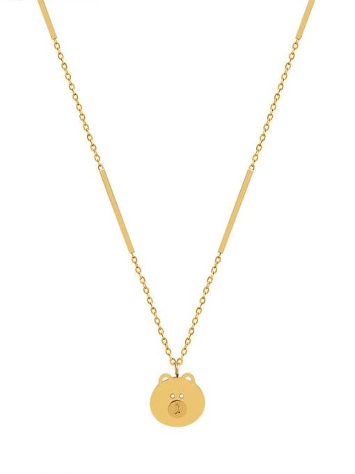 MAKA Titanium Steel Bear Cute Necklace