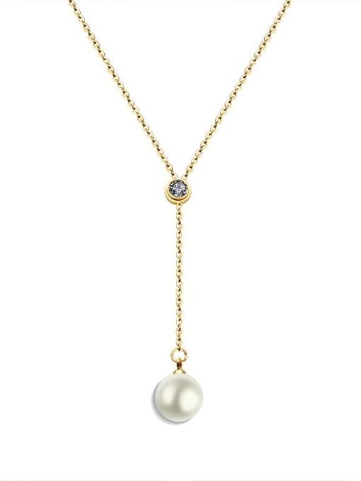 MAKA Titanium Steel Imitation Pearl Tassel Minimalist Lariat Necklace 0