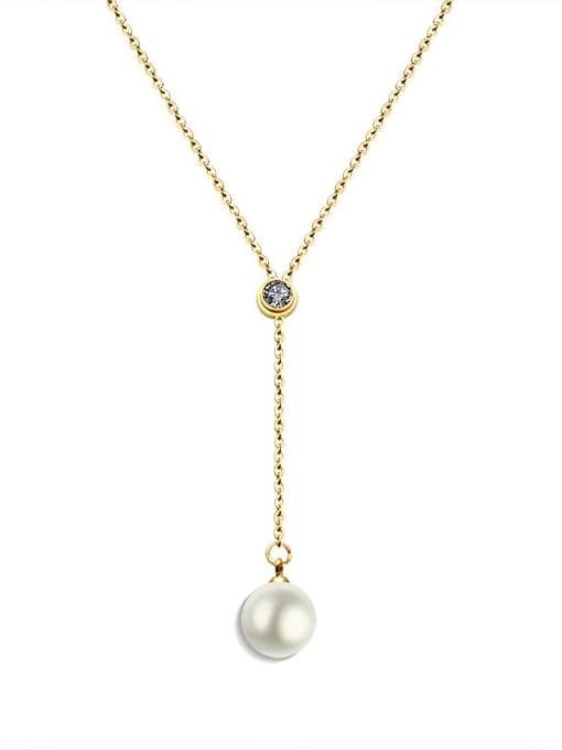 MAKA Titanium Steel Imitation Pearl Tassel Minimalist Lariat Necklace